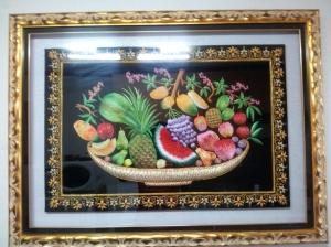 Embroidered Fruit on Velvet